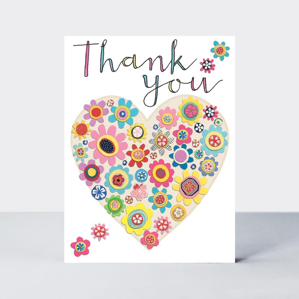 thank you heart of flowers  pack of 5  rachel ellen designs