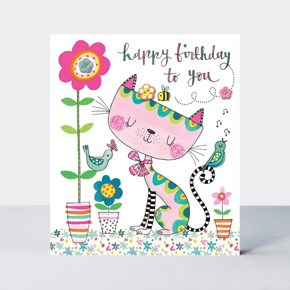 Flower Press Happy Birthday To You Cat