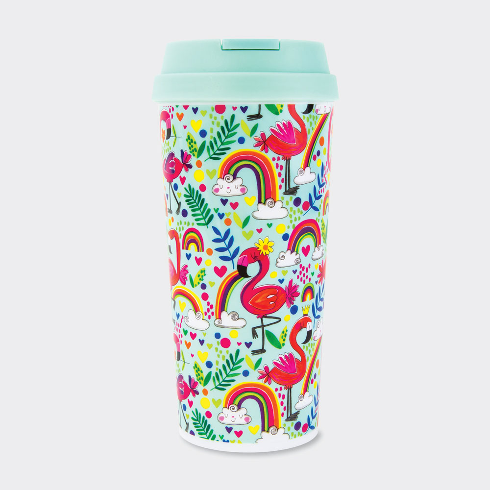 Ellen Designs Flamingosamp; ‐ Rainbows Travel Thermal Rachel Mugs sdxtChQr