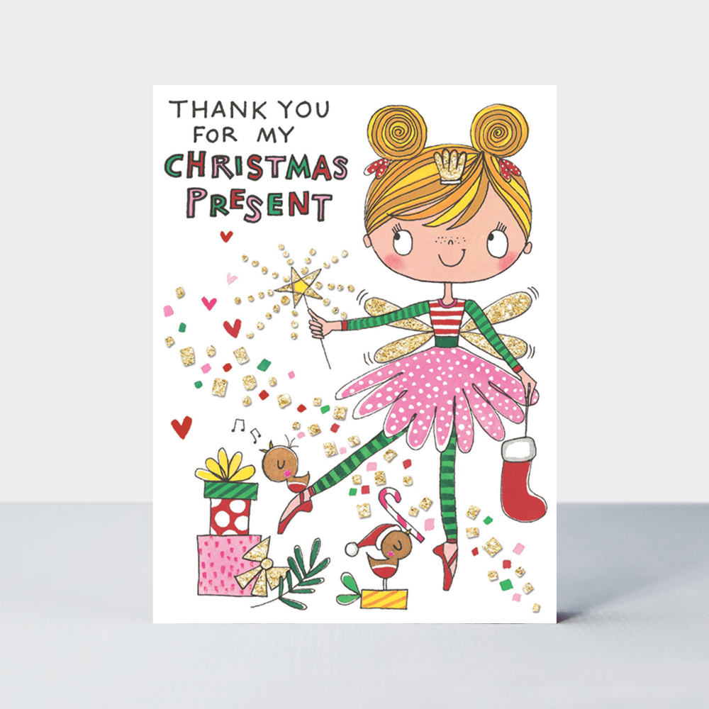 Christmas Thank You Cards.Thank You Christmas Present Girl Pack Of 5