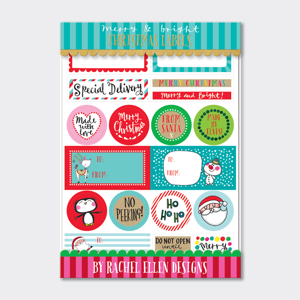 Christmas Labels.Christmas Labels Merry Bright